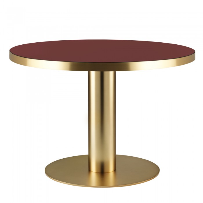 Table DINING 2.0 laiton ronde rouge cerise