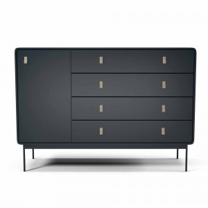Commode AMBER L anthracite/cuir