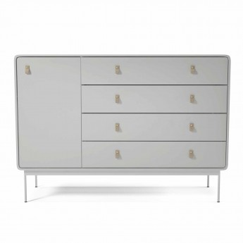 Commode AMBER L blanc/cuir
