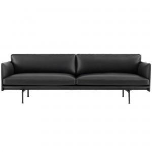 OUTLINE 3 seaters sofa - Black Silk Leather