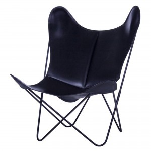 AA BUTTERFLY black leather armchair