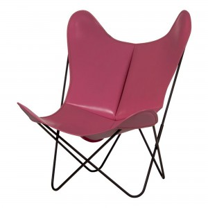 AA BUTTERFLY pink leather armchair