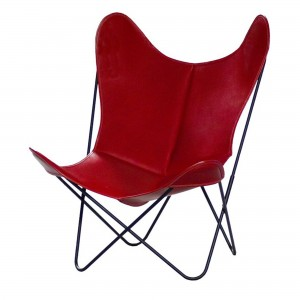 Fauteuil AA BUTTERFLY cuir rouge