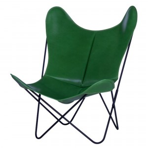 AA BUTTERFLY leather green armchair