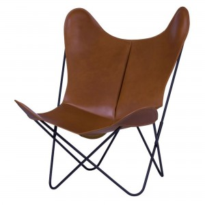 AA BUTTERFLY leather natural armchair