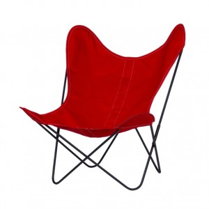 AA BUTTERFLY Cerise canvas armchair