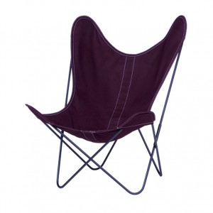 AA BUTTERFLY Prune canvas armchair