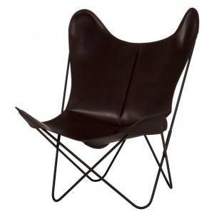 AA BUTTERFLY leather dark brown armchair