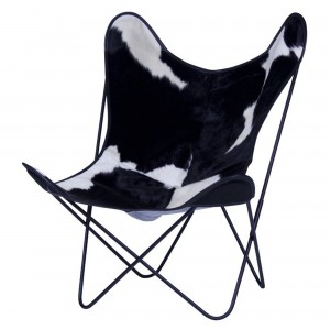 AA BUTTERFLY black & white cow skin armchair