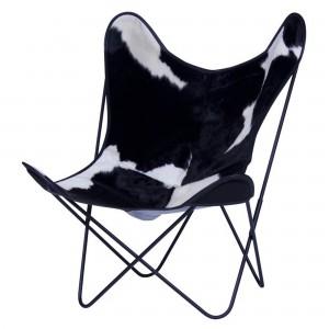 Fauteuil AA BUTTERFLY peau de vache noire & blanc