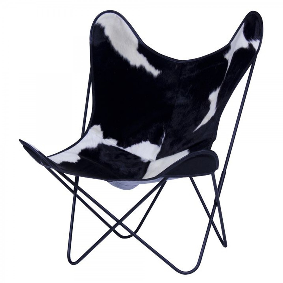 fauteuil aa butterfly en peau de vache noire blanche aa new design. Black Bedroom Furniture Sets. Home Design Ideas