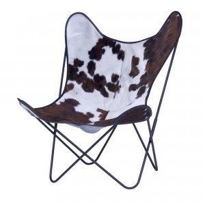 AA BUTTERFLY brown, black & white cow skin armchair