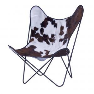Fauteuil AA BUTTERFLY peau de vache marron, noir & blanc