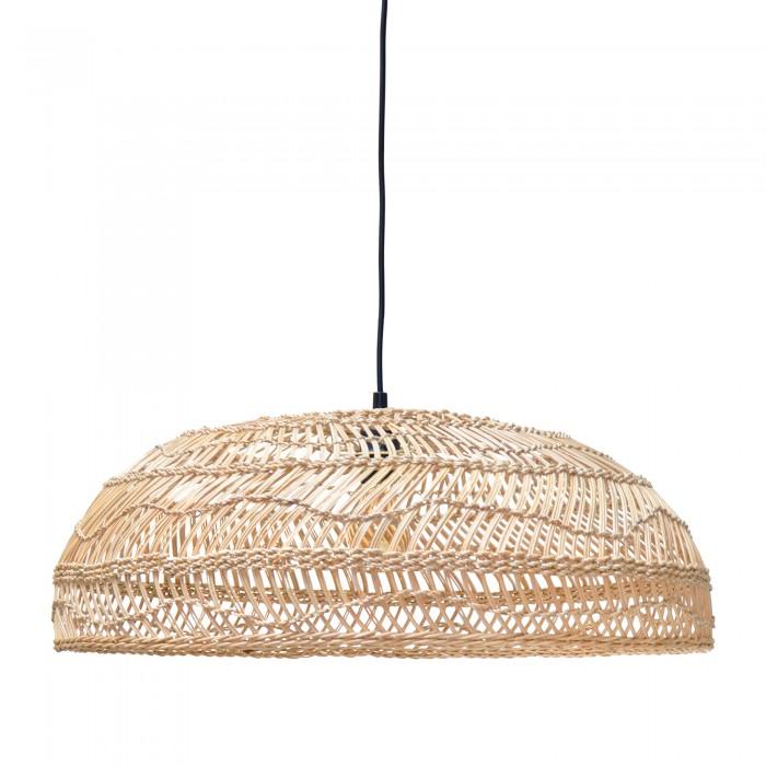 Lampe plate en osier naturel