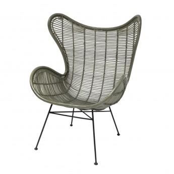 rattan EGG armchair green