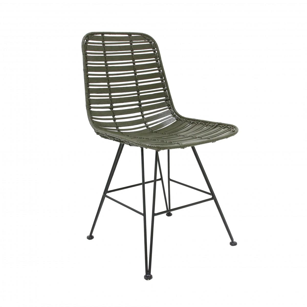 chaise en rotin vert olive - hk living