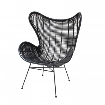 rattan EGG armchair black