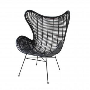 EGG armchair - Black rattan