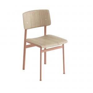 Chaise LOFT pieds rose/chêne