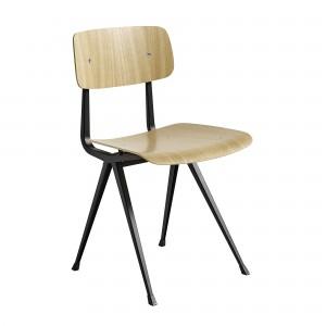 Chaise RESULT acier noir - chêne vernis
