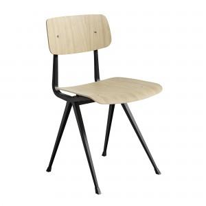 Chaise RESULT acier noir - chêne mat
