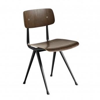Chaise RESULT acier noir - chêne fumé
