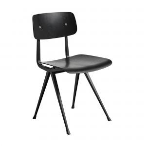 Chaise RESULT acier noir - chêne teinté noir