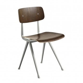 RESULT chair grey powder coated steel - smoked oak