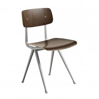 RESULT chair grey powder coated steel - smoked oak