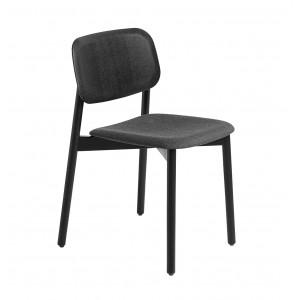 Chaise SOFT EDGE 12 Base noire, assise tapissée grise