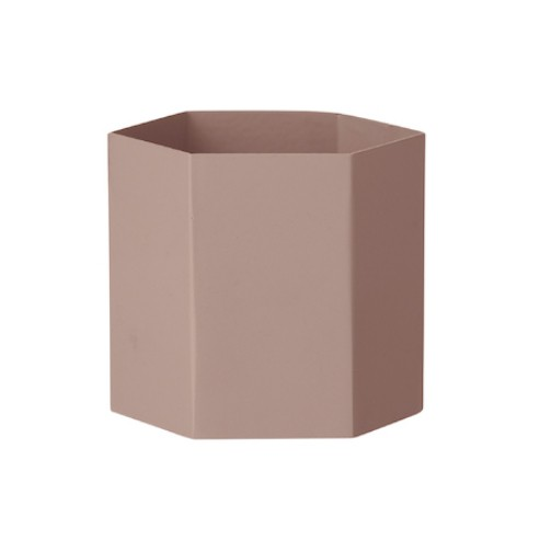 HEXAGON Large Pink Flower Pot In Solid Brass With Mat Polish   FERM LIVING