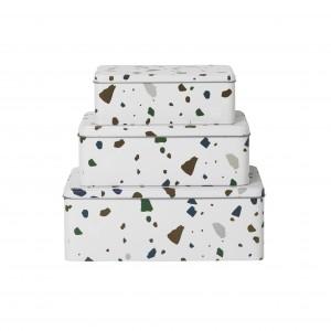 TERRAZZO tin boxes - grey