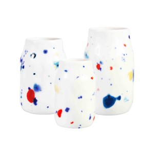 Set de 3 petits vases POINTS colorés