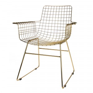Metal WIRE chair with arms - Brass