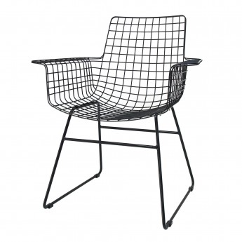 Wire armchair black