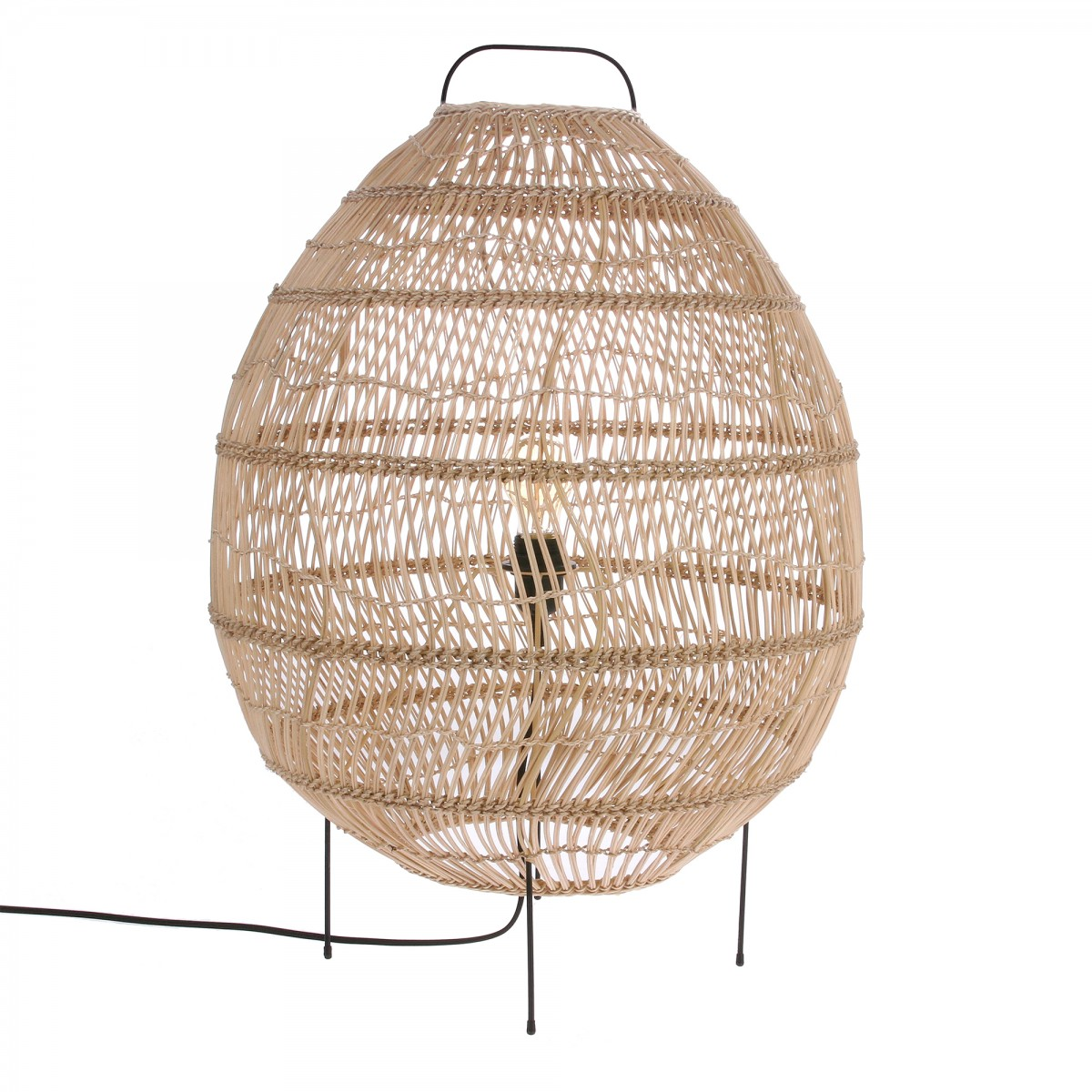 Bamboo Oval Table Lamp: WICKER Egg Floor Lamp