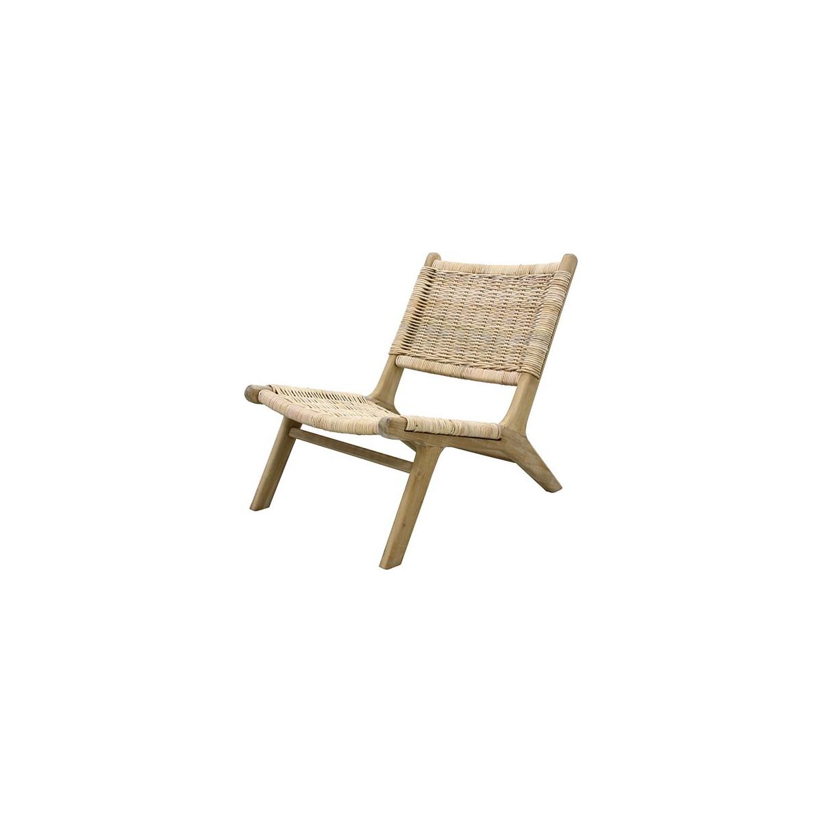 Chaise de repos wicker en osier naturel hk living for Chaise de cuisine en osier