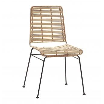 Chaise rotin naturel et pieds métal