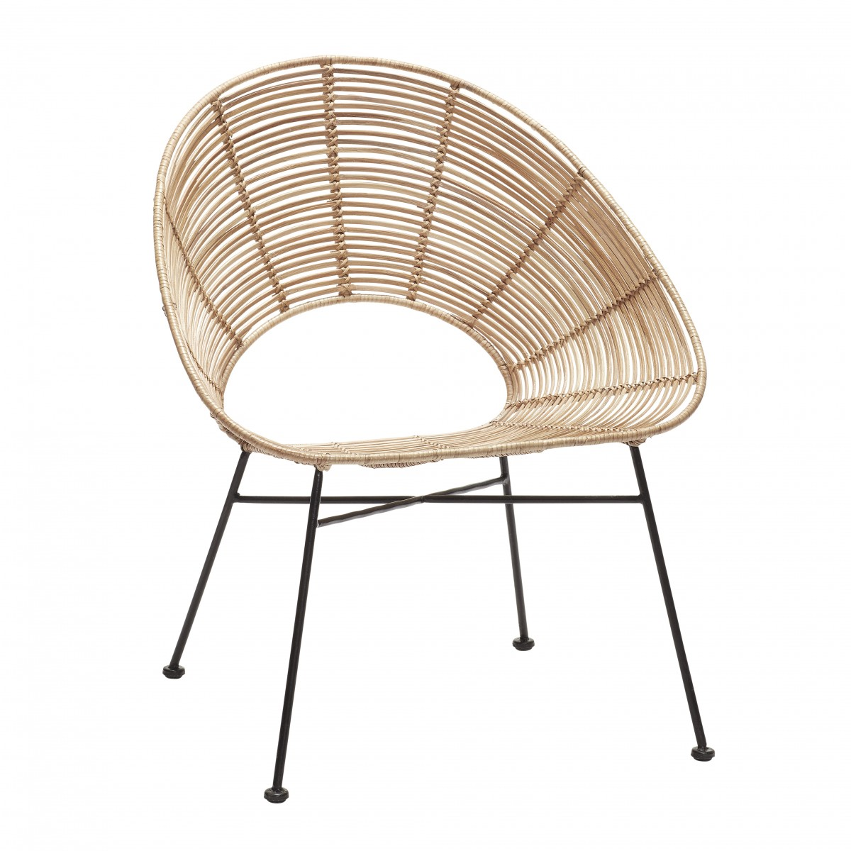 Round Armchair In Natural Rattan. Loading Zoom