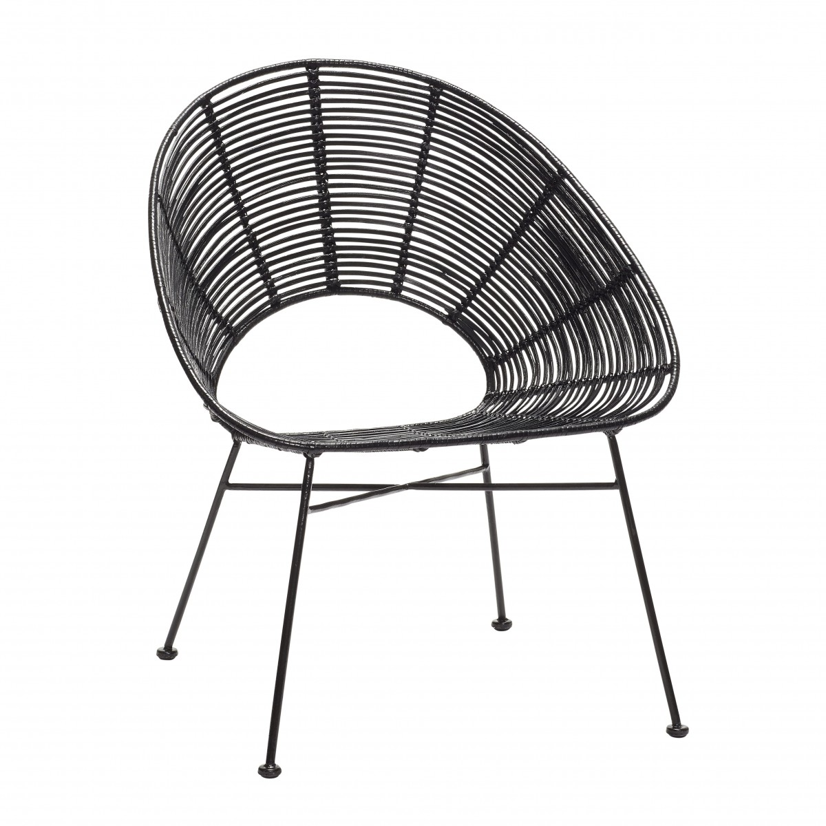 Round Armchair In Black Rattan. Loading Zoom