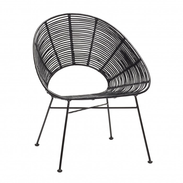 Round Armchair In Black Rattan