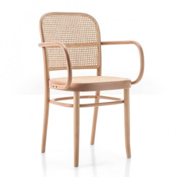 N.811 armchair woven cane seat/backrest