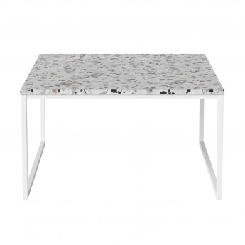 Table basse COMO Terazzo pieds blancs 60 x 60 - low