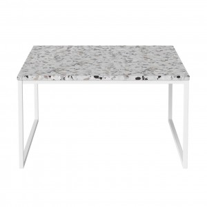 Table basse COMO Terazzo pieds blancs 60 x 60