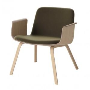 PALM armchair upholstered white oiled oak