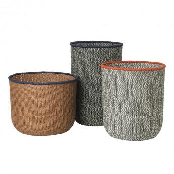 BRAIDED floor basket set of 3