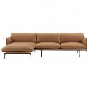 Canapé OUTLINE chaise longue gauche - cuir cognac