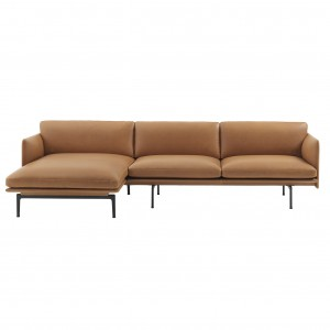OUTLINE lounge chair sofa - cognac leather