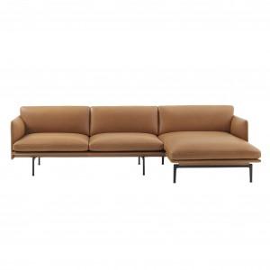 Canapé OUTLINE chaise longue droite - cuir cognac
