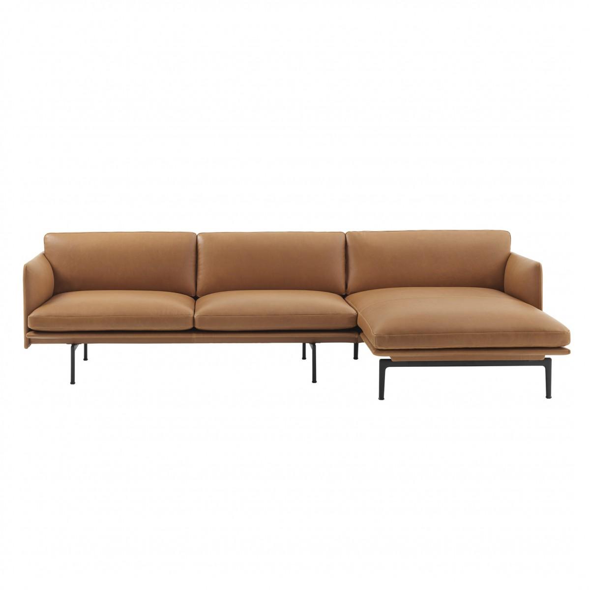 canap outline chaise longue en cuir cognac muuto chez. Black Bedroom Furniture Sets. Home Design Ideas